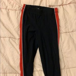 GARAGE - Black Leggings with Red Stripes